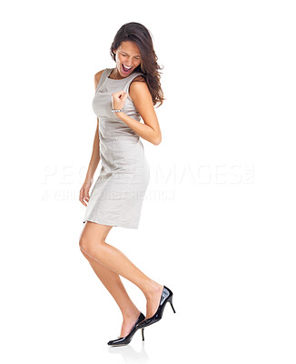 Buy stock photo Success - Young businessman jumping with joy on white