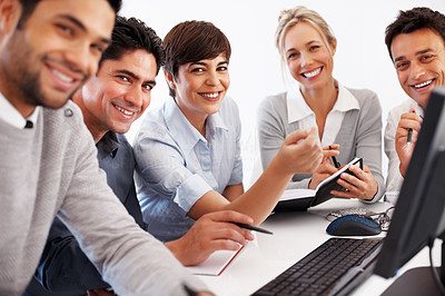 Buy stock photo Happy female leader in center with team during business meeting