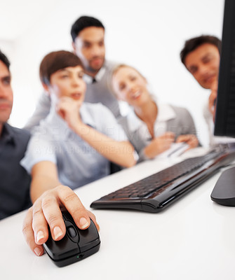 Buy stock photo Business woman with her team using computer mouse during corporate meeting