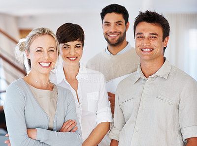 Buy stock photo Group of successful business team smiling together
