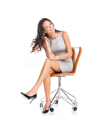 Buy stock photo Portrait of pretty young woman sitting on chair isolated over white background