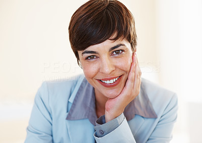 Buy stock photo Closeup of business woman giving you cute smile