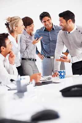 Buy stock photo Business people having friendly discussion during meeting