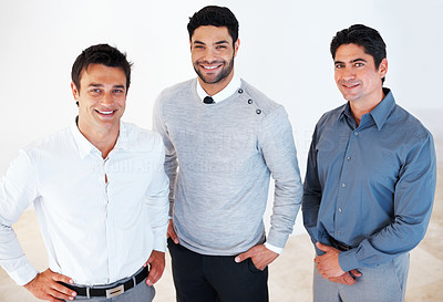 Buy stock photo Portrait of three successful smiling business man