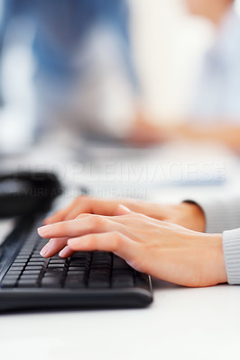 Buy stock photo Closeup of business woman's hands typing on the computer keyboard