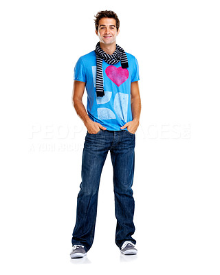 Buy stock photo Portrait of trendy young man standing with hands in pockets isolated on a white background