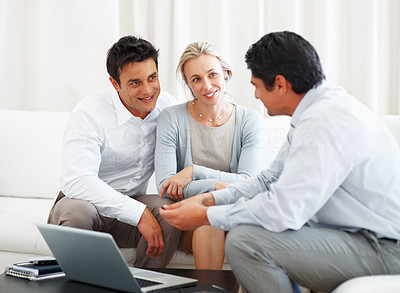 Buy stock photo Business couple discussing consultancy plans with consultant