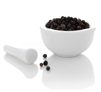 Buy stock photo Nice marble pestle and mortar with black pepper on white background