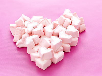Buy stock photo Images of pile of sweet hearts shaped marshmallows on pink background