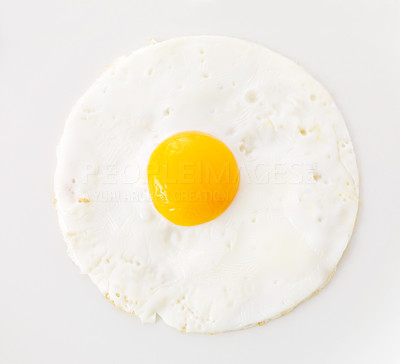 Buy stock photo Diet and nutrition concept - Plain egg omelet isolated on white background