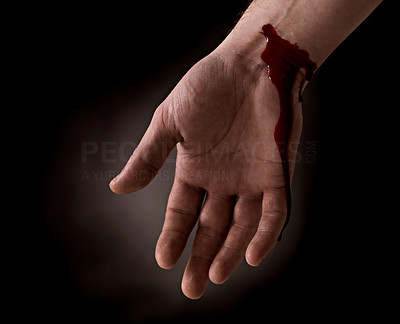 Buy stock photo Suicide attempt - Bleeding wrist of human hand isolated on black background