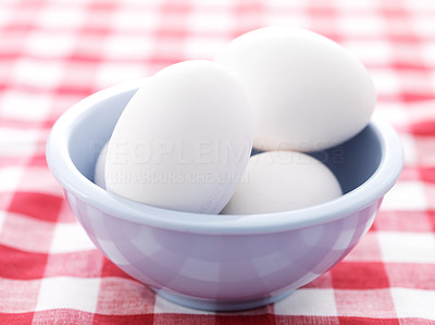 Buy stock photo Farm eggs in a creamic bowl on dining table