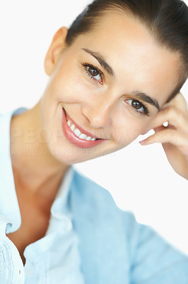 Buy stock photo Closeup of woman resting head on hand