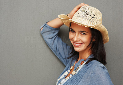 Buy stock photo Pretty woman wearing cowboy hat and posing against background