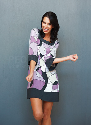 Buy stock photo Attractive woman dancing while smiling