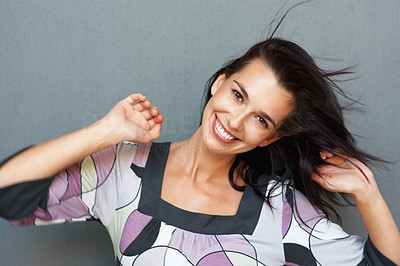 Buy stock photo Woman dancing with excitement