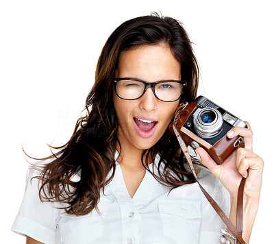 Buy stock photo Portrait of an attractive young woman winking at you and holding a vintage camera