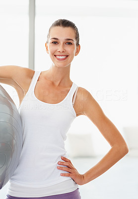 Buy stock photo Portrait of smiling woman holding fitness ball