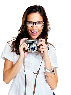 Buy stock photo Portrait of a happy young girl wearing glasses and holding a vintage camera