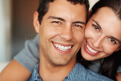 Buy stock photo Closeup portrait of happy woman hugging man from behind