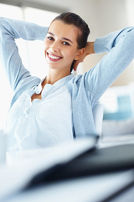Buy stock photo Portrait of smiling young business woman relaxing at office