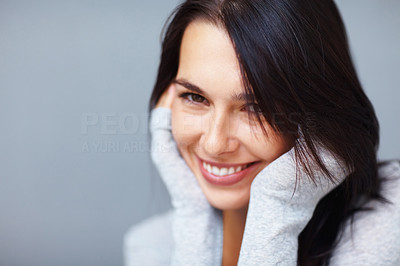 Buy stock photo Closeup of young beautiful woman holding her face