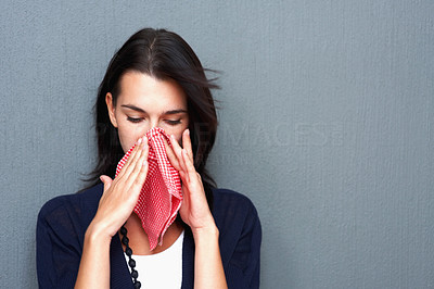 Buy stock photo Portrait of woman blowing her nose with handkerchief