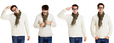 Buy stock photo Collage of a crazy young man standing on white background - Clone