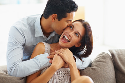 Buy stock photo Young couple spending romantic moments together