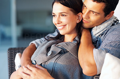 Buy stock photo Portrait of relaxed young man embracing woman from behind