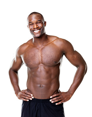 Buy stock photo Portrait of a muscular young man looking happy against white background