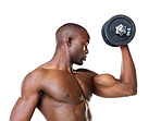 Healthy young man doing exercise with dumbbell