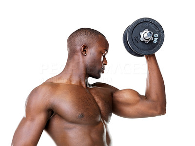 Buy stock photo Portrait of a healthy young man doing exercise with dumbbell against white background