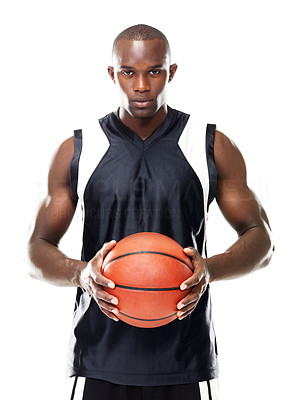 Buy stock photo Potrait of a young basketball player standing with a ball against white background