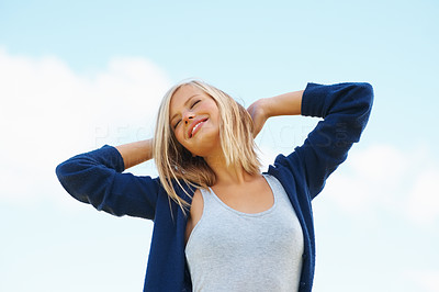 Buy stock photo Smiling relaxed woman enjoying outdoors with eyes closed