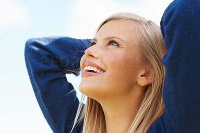 Buy stock photo Closeup of attractive girl looking up