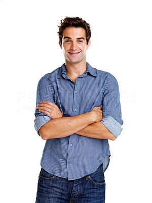 Buy stock photo Portait of a happy young guy standing with folded hands against isolated white background