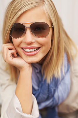 Buy stock photo Closeup of urban womanl in sunglasses and smiling