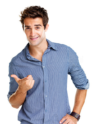 Buy stock photo Portrait of a handsome young man in gesture of asking question against white background