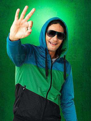 Buy stock photo Attractive man giving ok sign