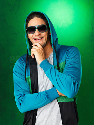 Buy stock photo Man in jacket and sunglasses, smiling with hand on chin