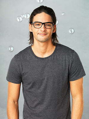 Buy stock photo Portrait of casual man in glasses and looking at you