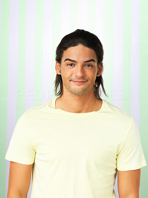 Buy stock photo Portrait of handsome man dressed casually on colored background