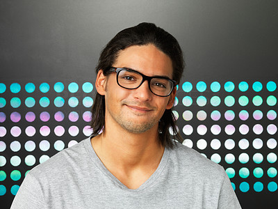 Buy stock photo Closeup of smart young man in glasses smiling