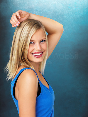 Buy stock photo Portrait of smiling woman with hands on head