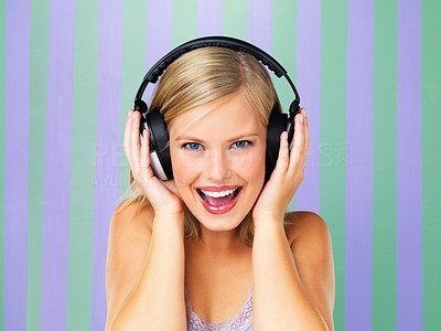 Buy stock photo Closeup of young woman with headphones on