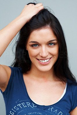 Buy stock photo Closeup portrait of a beautiful young female fashion model posing confidently