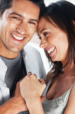 Buy stock photo Closeup portrait of a cute young couple having fun together