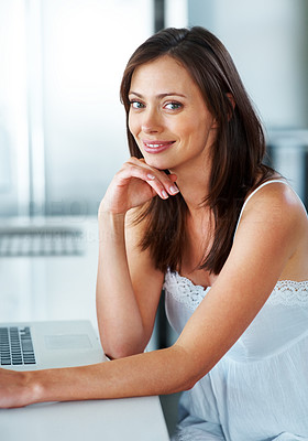 Buy stock photo Portrait of a gorgeous young female sitting with laptop in the kitchen at home - Indoor