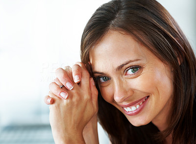 Buy stock photo Closeup portrait of a pretty young lady posing with a smile